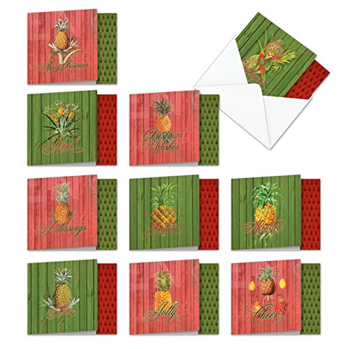 """- 10 Assorted 'Holiday Harvest' Boxed Set of Merry Christmas Cards W/Envelopes (4"""" x 5-1/8"""") - Images of Creative & Fun Pineapple Fruits & Holiday Colors - A Seasons Greetings Gift MQ4959XSB-B1x10"""