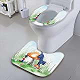 HuaWu-home Universal Toilet SeatGlade cat Dwarf and mush Magic Fantasy Landscape Safety and Hygiene