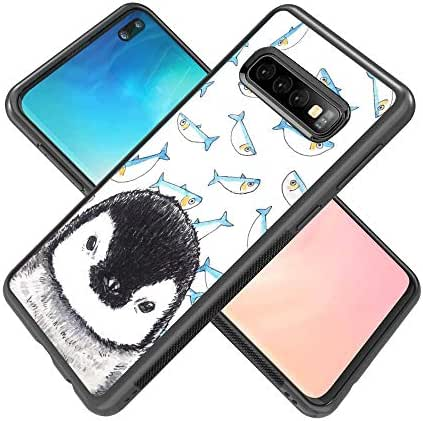 Case for Samsung Galaxy S10 Plus case Penguin and Fish Slim Soft and Hard Tire Shockproof Protective Phone Cover Case Slim Hybrid Shockproof Protective Case Anti-Scratch Cushion Bumper with Reinforced