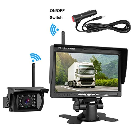 DohonesBest Wireless Backup Camera and 7″ HD LCD Monitor System kit for Trucks/RV/Trailer/Camper Built in Reverse Camera Guide Lines ON/Off with IP69K Waterproof IR Night Vision