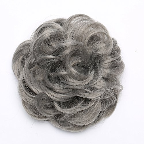Updo Hair Extensions Synthetic Hair Bun Wavy Donut Bride Scrunchy Messy Hairpieces 2 Pieces 45g/pcs Dark Grey-Thicker