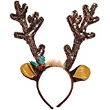 """Fun-Filled Christmas and Holiday Party Reindeer Antler Headband , Brown, Fabric , 13 1/2"""" x 10 1/2"""", Pack of 1"""