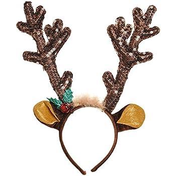 Amazon.com: Pagreberya Reindeer Antlers Headband Christmas and ...