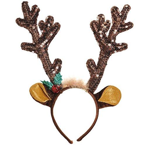 Flashing Nose - Amscan Fun-Filled Christmas & Holiday Party Reindeer Antler Headband, Brown, Fabric, 13 1/2