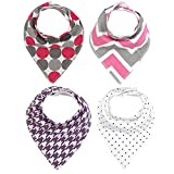 Baby Drool Bandana Bibs 4 Packs Unisex Baby Gift for Girls and Boys Super Absorbent Cotton Bibs with Snaps offers