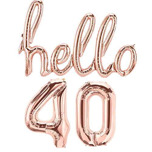 Mapple Balloon Hello 40th Rose Gold Birthday Pack Garland Balloons Decorations Party Happy -