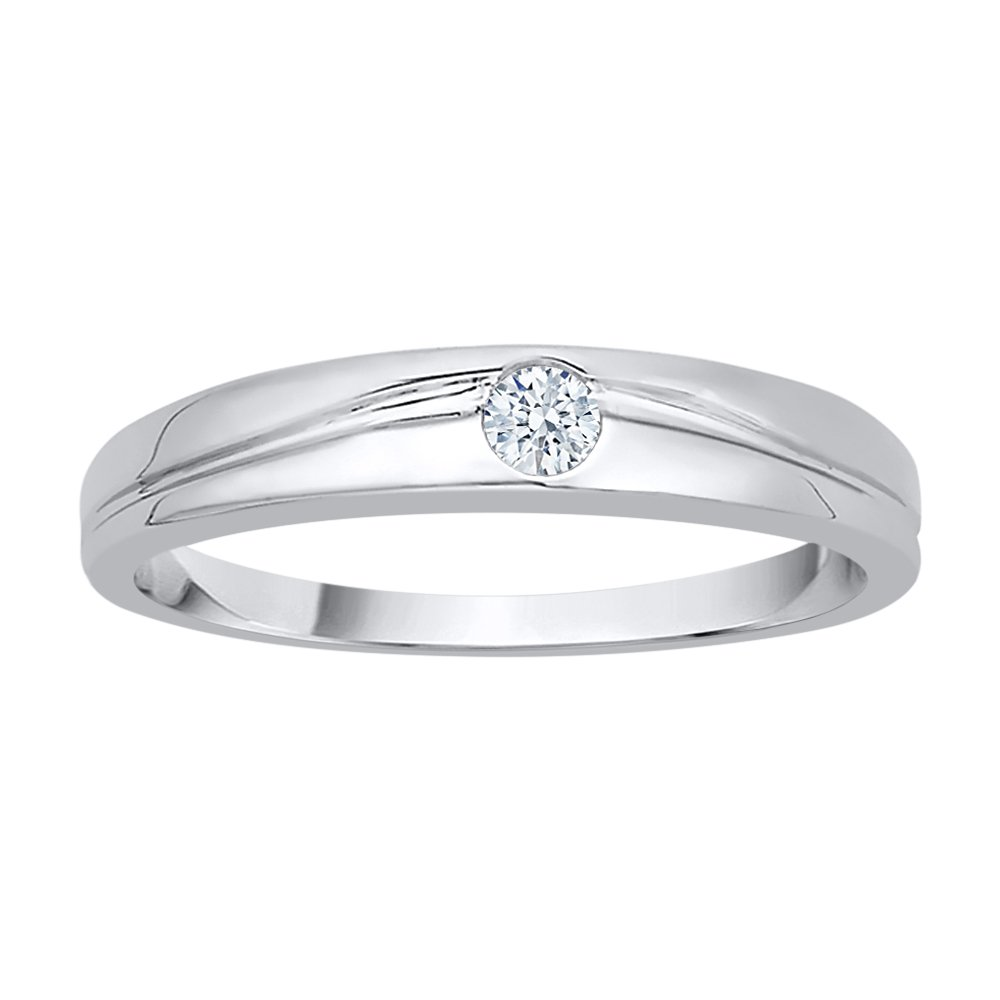 Diamond Solitaire Promise Ring in 10K White Gold (1/10 cttw) (GH Color, I2-I3 Clarity) (Size-7.5)