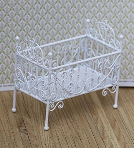 White Victorian Dollhouse Miniature Wire - Dollhouse Miniature White Wire Victorian Crib