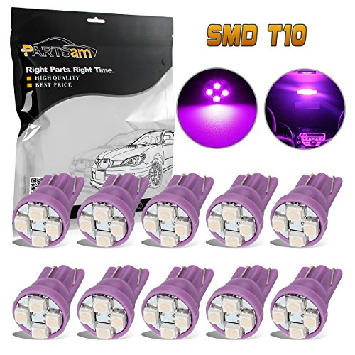 Partsam 10X Purple T10 Wedge W5W 168 194 2825 W5W 4-3528-SMD LED Instrument Gauge Panel Light Bulb