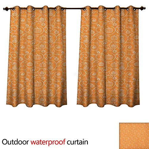 Anshesix Harvest Outdoor Curtains for Patio Sheer Pattern with Pumpkin Leaves and Swirls on Orange Backdrop Halloween Inspired W96 x L72(245cm x 183cm)