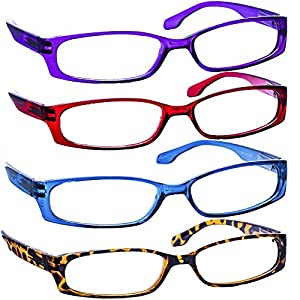 Reading Glasses 2.50 (4 Pack) Purple Red Blue Tortoise F503