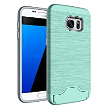 MOONCASE Galaxy S7 Case Brushed Anti-Scratch Dual Layer Hybrid [Card Slot Holder] Armor Protective Case Cover for Samsung Galaxy S7 Teal
