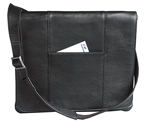(Winn International Harness Cowhide Leather Slim Messenger Bag in Black)
