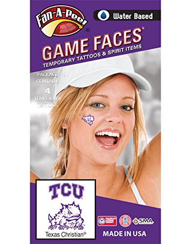 Fan A peel Texas Christian University (TCU) Horned Frogs - Water Based Temporary Spirit Tattoos - 4-Piece - 2 Purple/White TCU Logo & 2 Purple Super Frog Logo