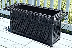 American Patio - Rectangular Outdoor Planter - Metal Trough (Black)