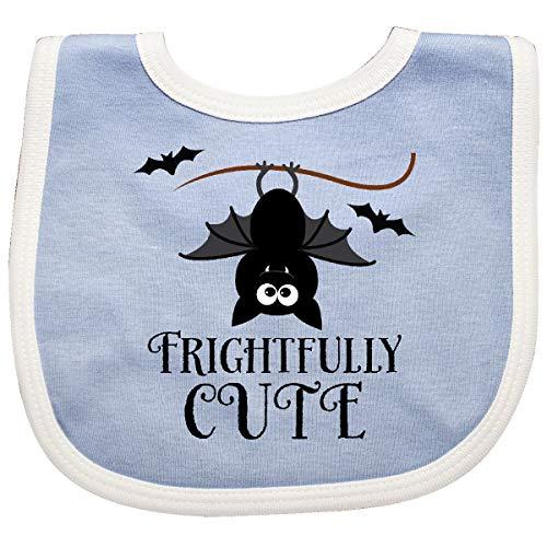 Inktastic Halloween Bat Frightfully Cute Holiday Baby Bib Blue/White