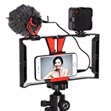 FocusFoto Smartphone Video Rig Camera Cage Mount Holder Stabilizer Handle Grip with BOYA BY-MM1 Shotgun Microphone Mic + 49 LED Light Kit for Mobile Phone iPhone Filmmaking Professional Videomaker