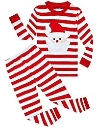Striped Boys Girls 2 Piece Christmas Pajamas Set 100% Cotton Pjs