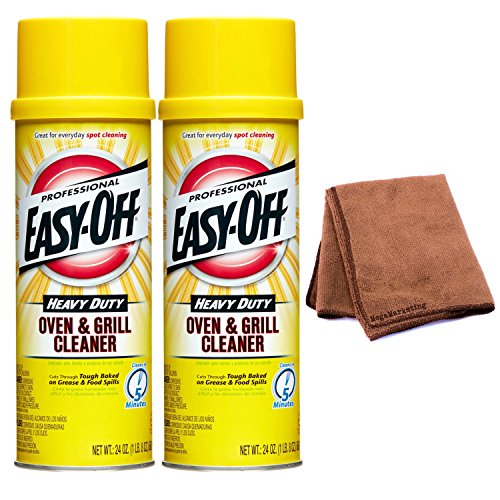 Easy-Off Professional Oven & Grill Cleaner, 24 oz Can, 2-Pack with Cleaning Cloth