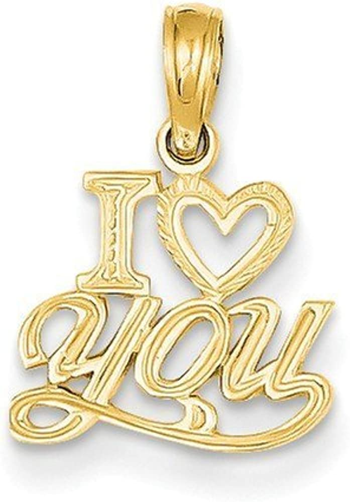 14K Gold Polished /& Textured I Heart You Pendant 0.87 in x 0.43 in
