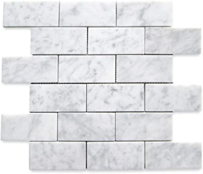 Stone Center Online Carrara White Italian Carrera Marble Subway Brick Mosaic Tile 2x4 Polished Venato Bianco Bathroom Kitchen Backsplash Floor Tile Backsplash Amazon Com