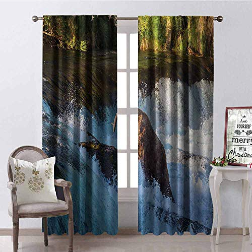 GloriaJohnson Waterfall 99% Blackout Curtains Image of Large Bear by a Rock in Alaska Waterfall Wildlife in Earth Art Print for Bedroom Kindergarten Living Room W52 x L95 Inch Multicolor