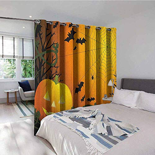 Spider Web Backdrop Gromets Curtain Drapes for Girls Room, Halloween Themed Composition with Pumpkin Leaves Trees Web and Bats Light Darkening Curtains, Orange Dark Green Black, W72 x L72 Inches