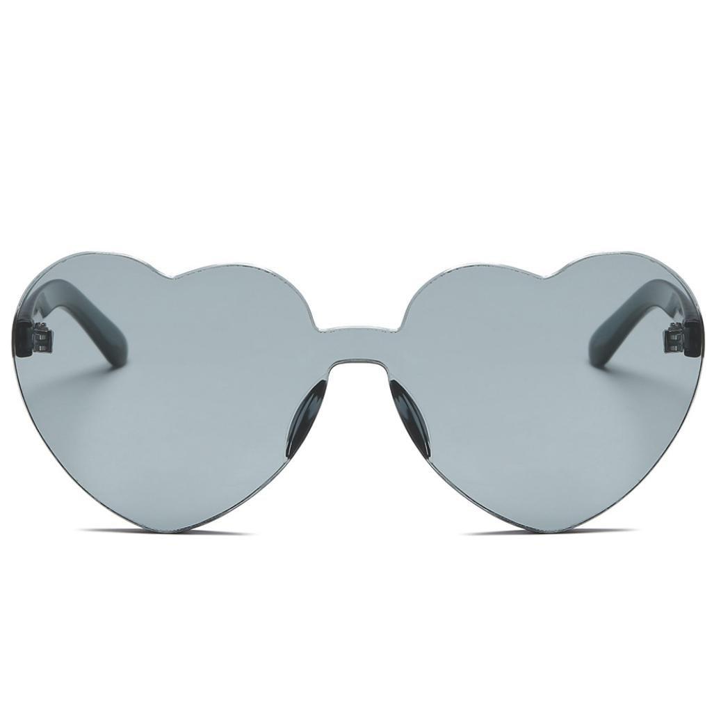 bcdshopレディースサングラスファッションハート型シェード統合UV Sun glassesギフト L グレー B079Q5FGMY グレー グレー