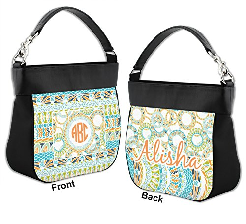 Genuine Back Personalized Teal w amp; amp; Purse Trim Hobo Labels Front Leather Ribbons 7xqpP4xY