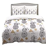 Linen_specialist Pineapple Duvet Cover Set Twin Size, Black Pineapple and Gold Geometric Pattern on White Bedding Set, 100% Microfiber Duvet Cover with Zipper and Corner Ties for Kids, Boys, Girls