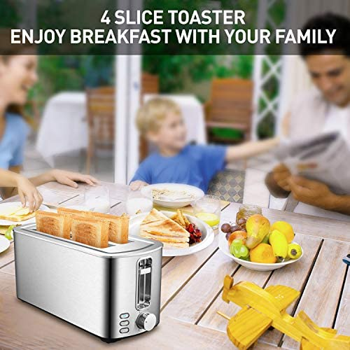 4 Slice Toaster Bread Toaster with 6 Shade Settings Stainless Steel Toaster with Bagel Defrost Cancel Function for Home Famiily