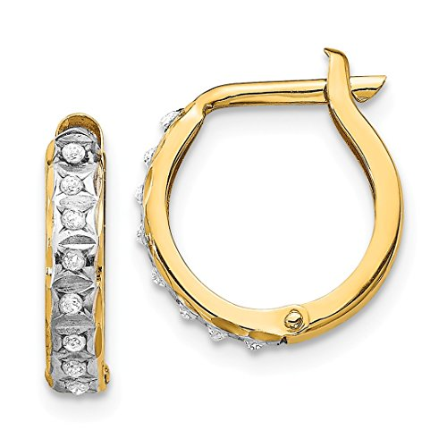 (14k Yellow Gold Diamond Fascination Round Hinged Hoop Earrings Ear Hoops Set Fine Jewelry For Women Gift Set)