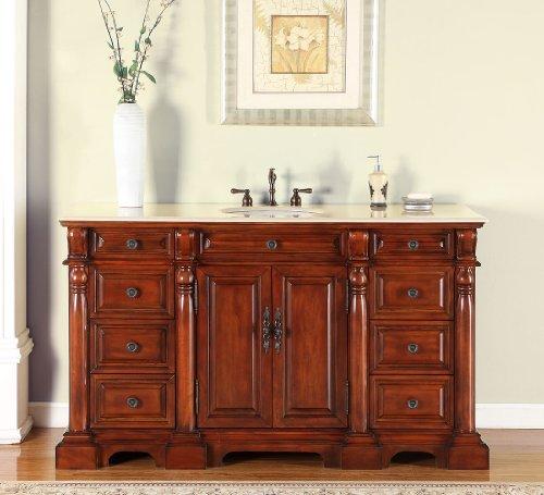 Silkroad Exclusive FS-0267-CM-UWC-62 Countertop Marble Stone Single Sink Bathroom Vanity with Bath Furniture Cabinet, 62