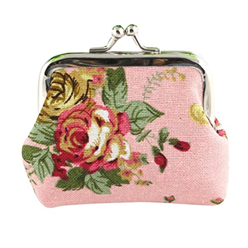 Clearance Coin Purse Buckle  Seaintheson Women Retro Coin Purse Buckle Clutch Pouch Small Wallet Pockets Coin Pouch Keychain Clutch Bag Coin Change Purse Flower Printed  Pink