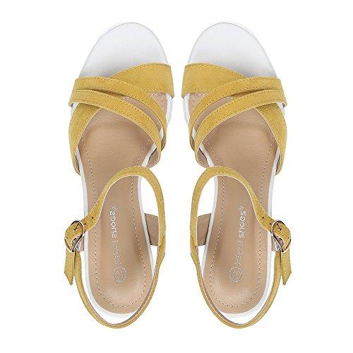 Ideal Shoes Kompensiert Sandale Effekt Wildleder Tessie Gelb