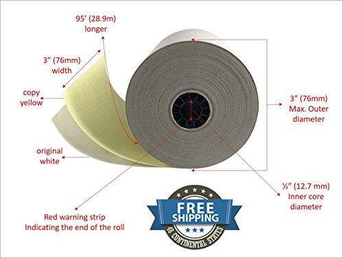 2 ply Carbonless Copy Paper Roll White/Canary 3 x 95 (12 Rolls)