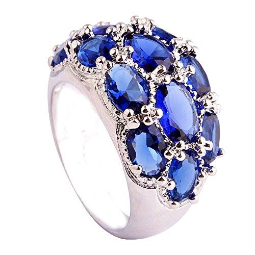 (Narica Womens Brilliant 6mmx4mm Oval Cut Sapphire Quartz Gemstones Cocktail Ring)