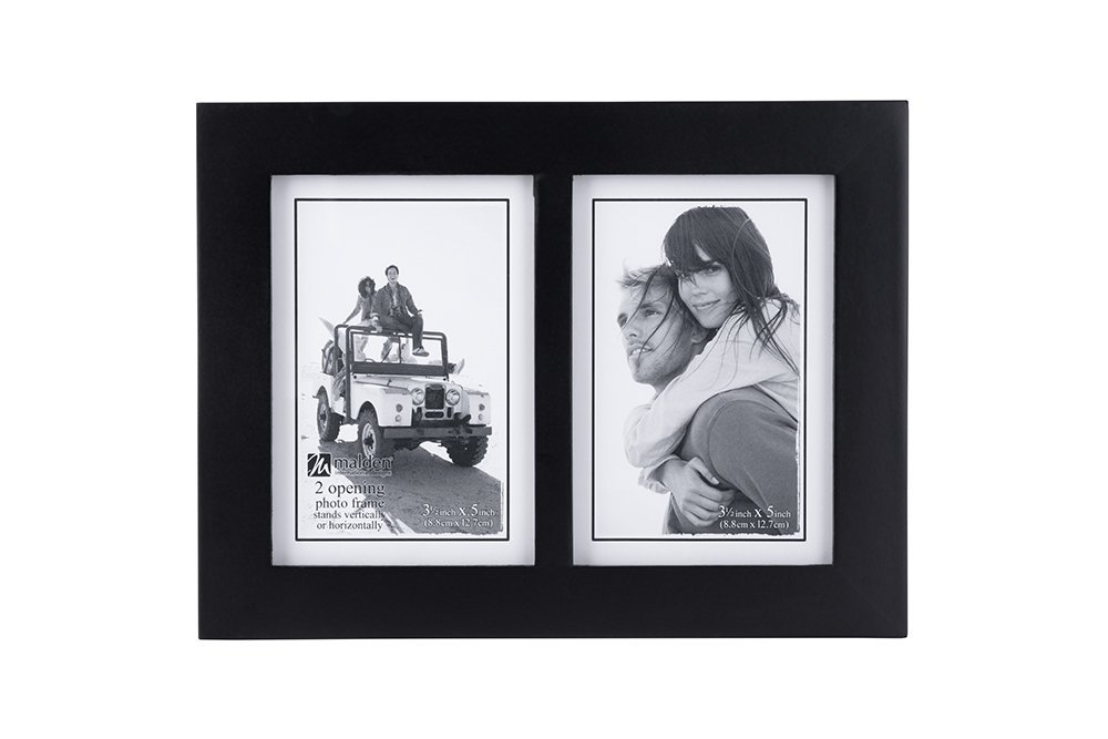 Malden Double 3.5x5 Picture Frame - Wide Real Wood Molding, Real Glass - Black