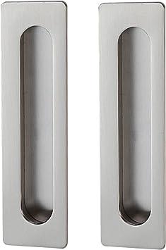 Goda Goda Puerta Corredera Tirador cajón Acero Inoxidable Mate Cepillado Invisible de muebles Tiradores 2pcs 106 mmx39 mm/138mmx39 mm, Plateado: Amazon.es: Bricolaje y herramientas