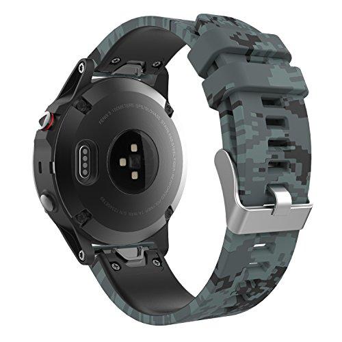 MoKo Garmin Fenix 5 Quick Fit 22mm Watch Band, Soft Silicone Replacement Strap for Garmin Fenix 5/5 Plus/Instinct/Forerunner 935/Aproach S60 Watch, (Not Fit Fenix 5X 5S), Shallow Digital Camouflage