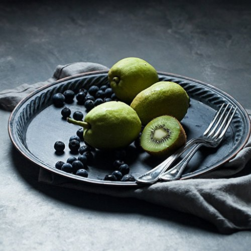 He Xiang Ya Shop Iron Flat Plate Home Breakfast Large Tray Fruit Cake Tray Water Cup Tray Black Dinner Plate 12 inches by He Xiang Ya Shop (Image #2)