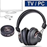 Avantree Wireless Headphones for TV with Bluetooth Transmitter SET, Auto-reconnect, No Lip Sync Delay, LONG RANGE, 40 Hours Battery, for PC / Video Game, BT 4.2 - HT3189 [24M Warranty]