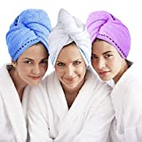 Microfiber Hair Towel Turban Wrap 3 Pack - Laluztop Anti Frizz Absorbent & Soft Shower head Towel, Quick dryer Hat, Bathing Wrapped Cap for Women Girls Mom Daughter(White/Blue/Purple)