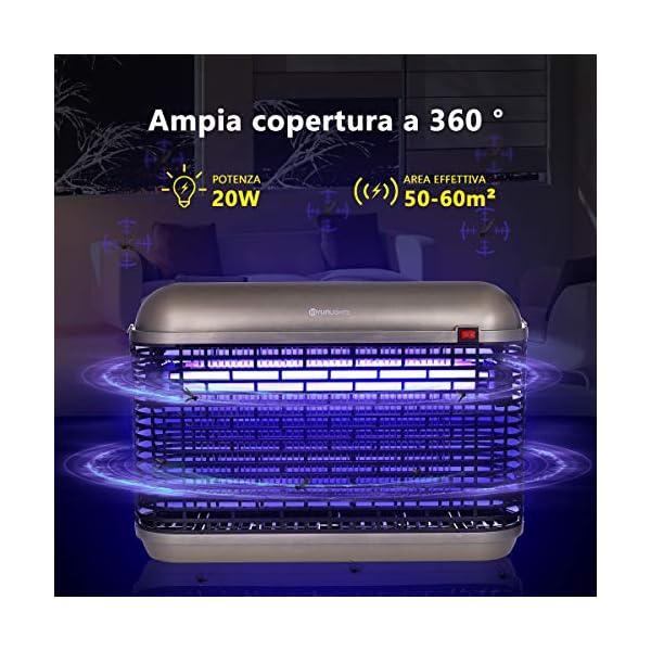YUNLIGHTS Repellente Lampada Anti-zanzare Interno 20W con Luce UV, Elettrica Trappola per Mosche Insetto, Alto… 2 spesavip