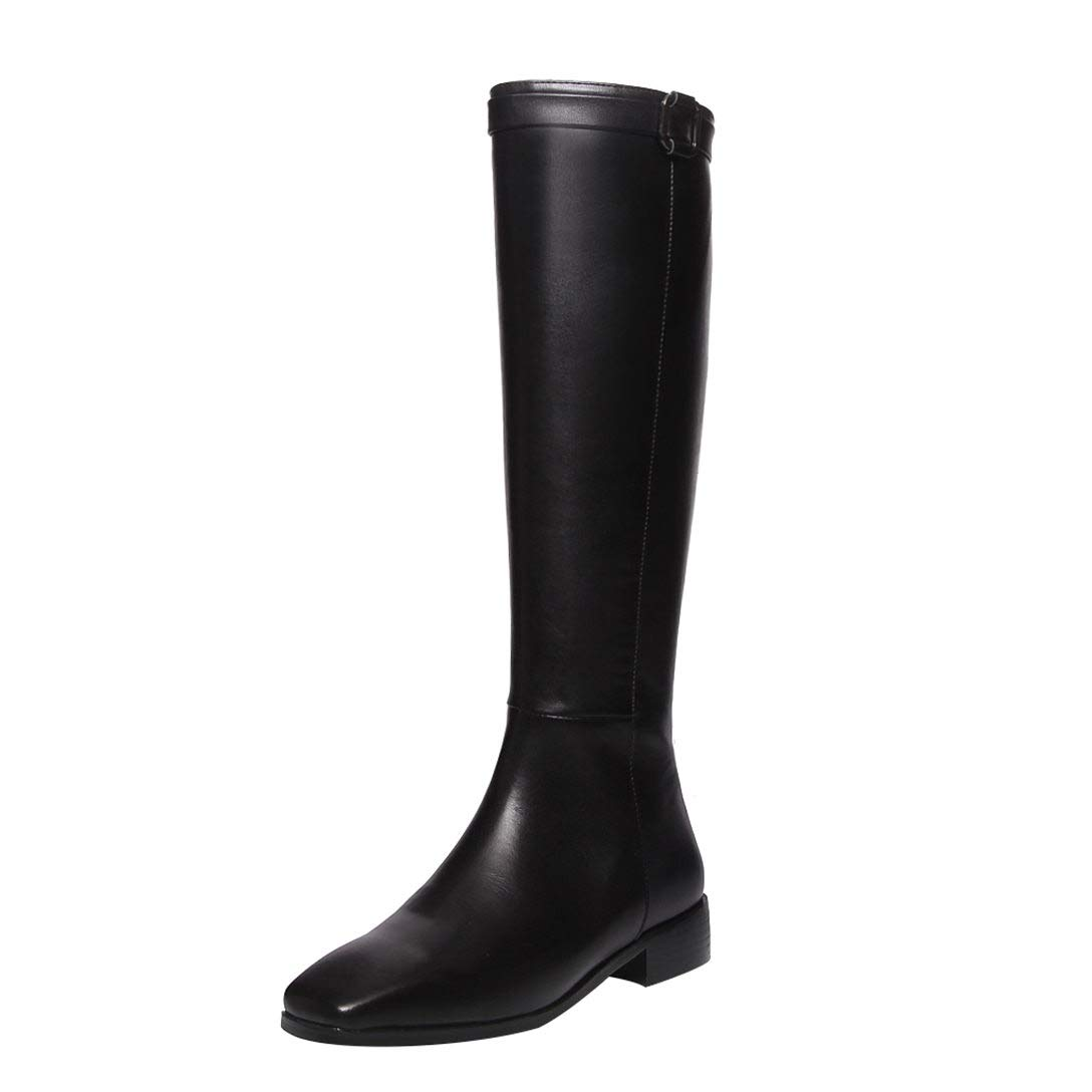 Black MAYPIE Womens Toances Leather Slip-on Knee-High Boots