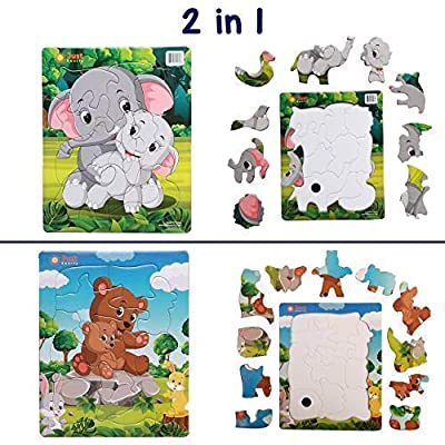 Jigsaw Toddler Puzzles (10 and 11 pcs) Kids Ages 3,4,5. Easy, Cardboard Puzzle with Tray Great for Beginners. Boys and Girls. Toddler Puzzles 3 Year Old Fun Learning Educational Toy Preschool: Toys & Games