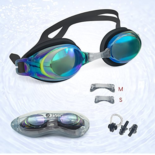Swim Goggles + Ear and Nose Plugs - 3STN | Professional Athletic Glasses with UV + Leaking Protection, Fogproof, Mirrored for Pool, Outdoor, Triathlon | For Men, Women, Adults, Youth - For Glasses Rests Nose