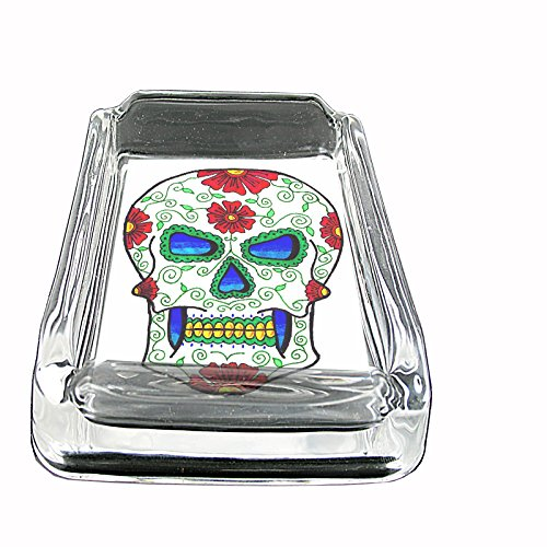060 Square - Glass Square Ashtray Skull-060