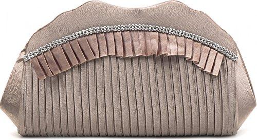VINCENT PEREZ, Embrague, bolsos de noche, bandolera, bolsos de mano, bolsos axilares de raso con imitación de strass, con cadena amovible (120 cm), 31,5x9,5x8,5 cm (AN x AL x pr), color: negro pardo