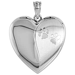 Sterling Silver Heart Locket / Urn Necklace 1 Picture Paw Prints 16 inch